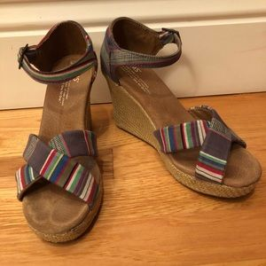 TOMS Multi-Colored Open Toe Espadrille Wedges